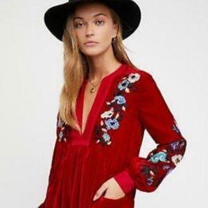 Like New Free People Boho Mia Floral Velvet Dress